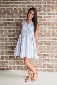 Gray striped, v-neck, summer dress - Brooke dress