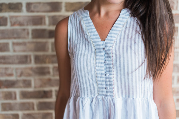 Gray striped, v-neck, buttoned front, summer dress - Brooke dress
