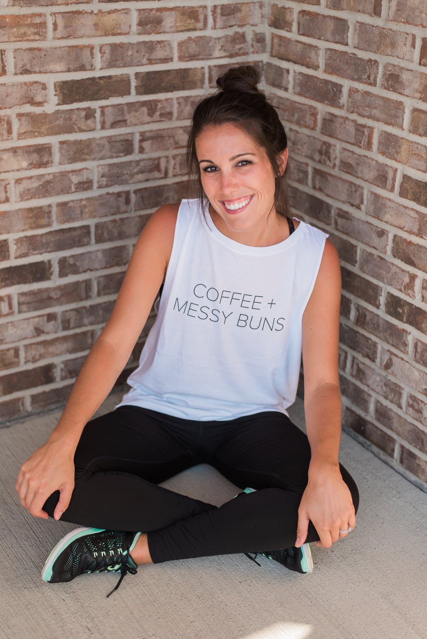 White, lightweight, dropped arm holes, athleisure wear - Coffee + Messy Buns Tee
