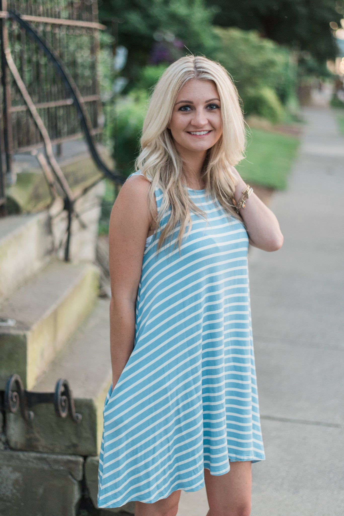 Striped, sleeveless, side pocket, casual, denim-ivory. The Courtney Dress