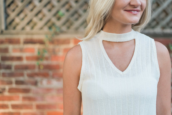 Halter neck, v-neck cutout detail, ivory. The Elizabeth Top