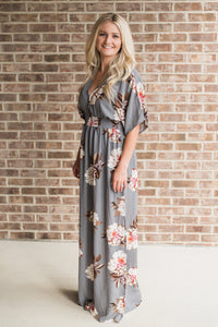 Floral-print, side slit with tie, cool gray. Eva Maxi Dress