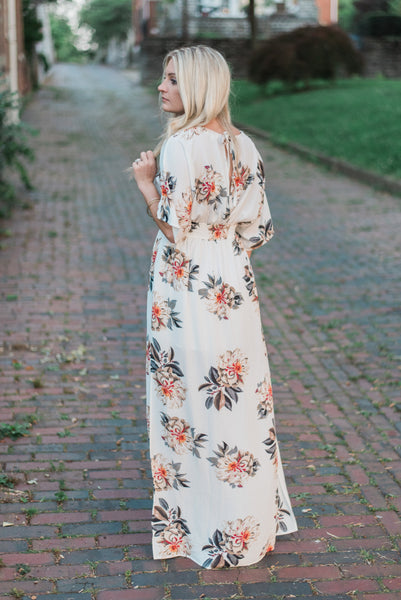 Floral-print, back view, off-white. Eva Maxi Dress