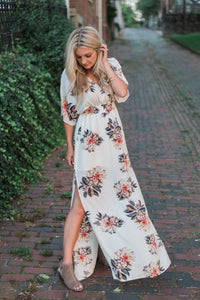 Floral-print, side slit with tie, off-white. Eva Maxi Dress