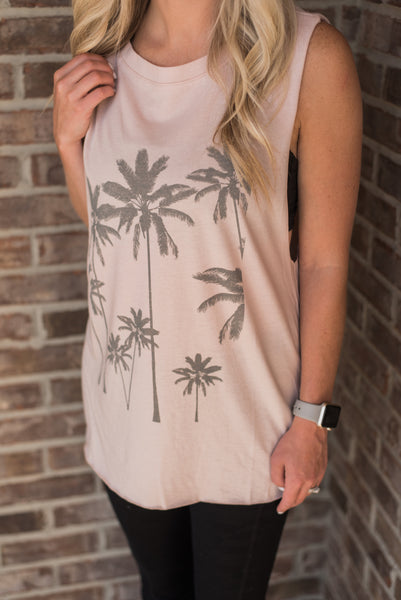 Rose Quartz, dropped arm holes, front detail, palm trees, athleisure wear - LA Love Tee