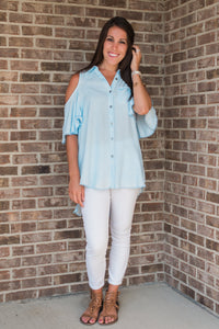 Chambray, open shoulder, button-up - Lindsay top