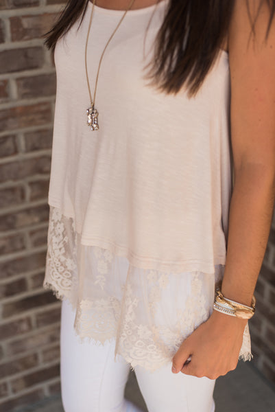 Neutral color, lace-trim detail, hem detail - Molly top