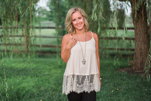 Neutral color, lace-trim detail, tank - Molly top