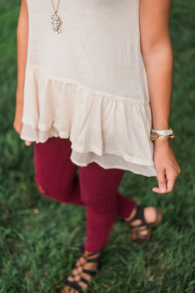 Sand, lace detail, chiffon ruffle - Morgan top