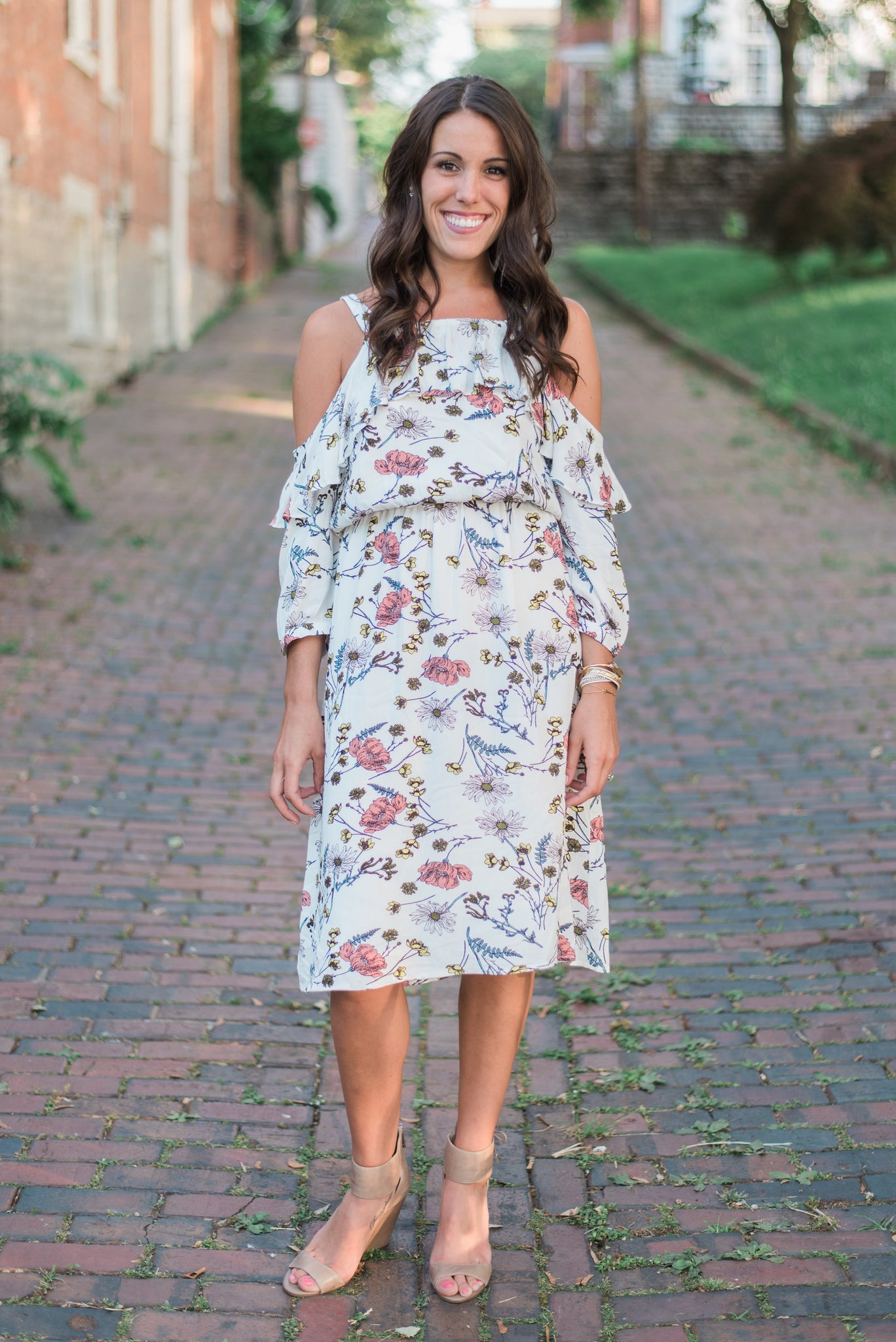 Cold-shouldered, three-quarter length, floral print. The Olivia Dress.