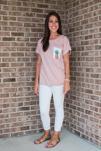 Mauve, premium cotton graphic tee - Pineapple Pocket Tee