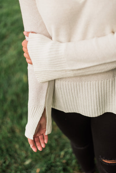 Ivory, sleeve slit, ribbed hem - Rory sweater