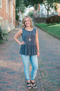 Charcoal, smocked, non-sheer, sleeveless tank - Sara top
