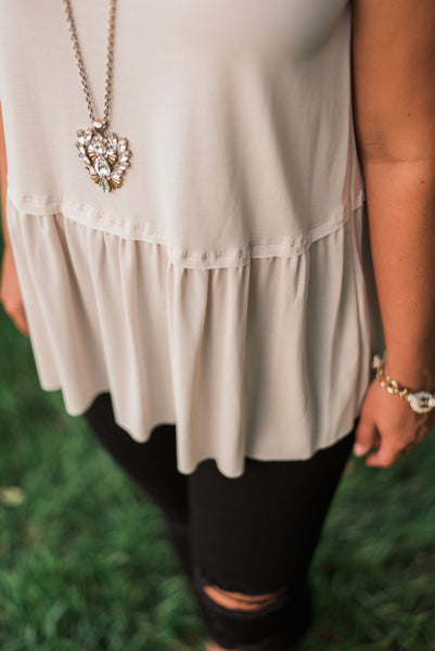 Cream, smocked, sleeveless tank, hem - Sara top