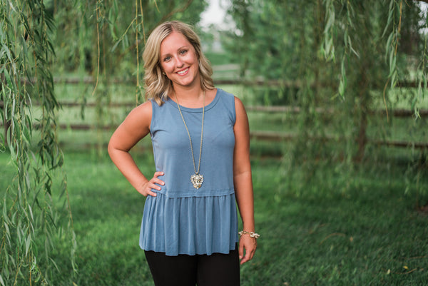 Denim, smocked, non-sheer, sleeveless tank - Sara top