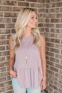 Mauve, smocked, non-sheer, sleeveless tank - Sara top