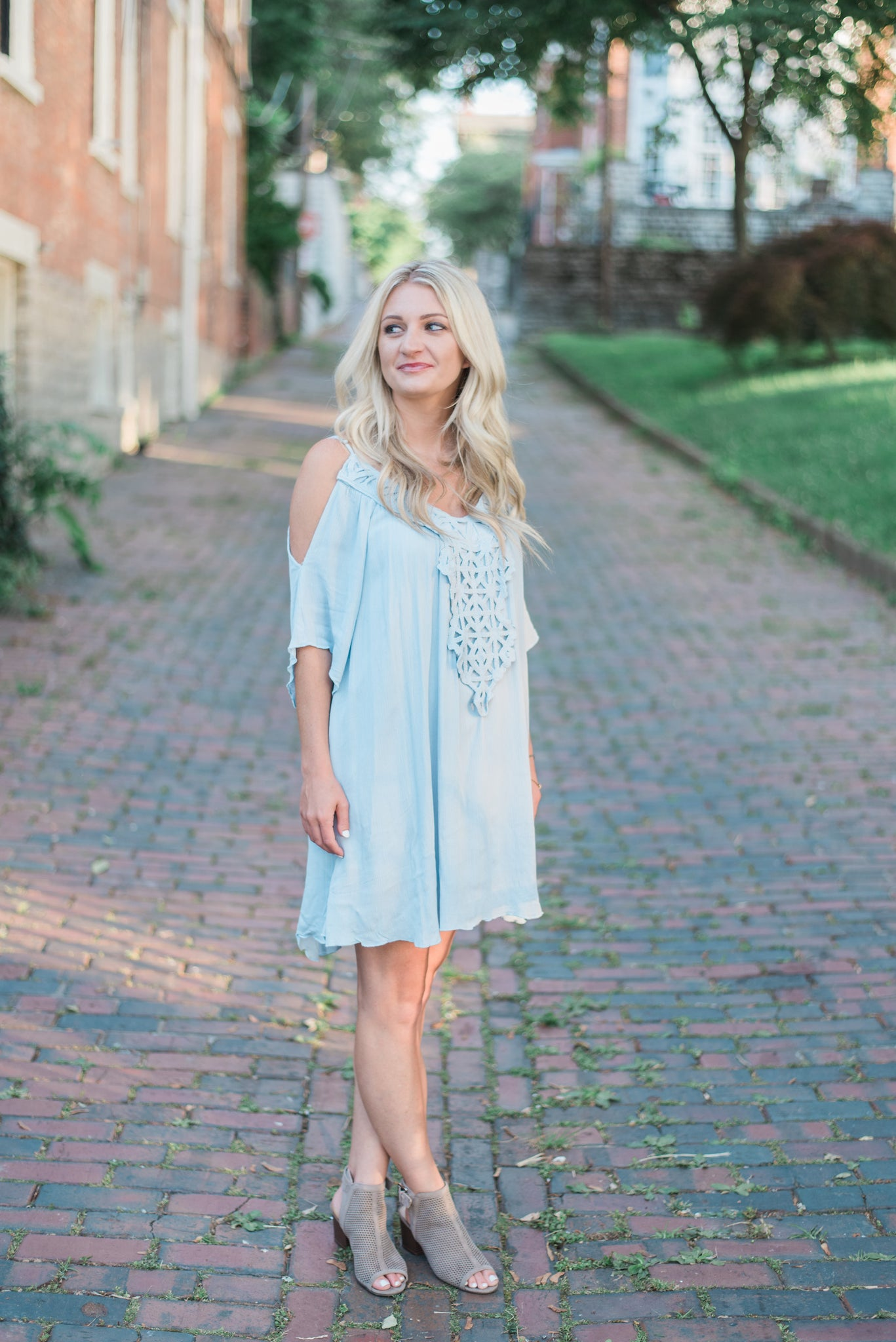 Open-shoulder, tunic dress, dusty blue. The Sophie Dress.