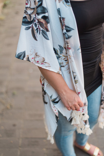 Off-white, open, floral-print, fringe hem. The Eva Kimono