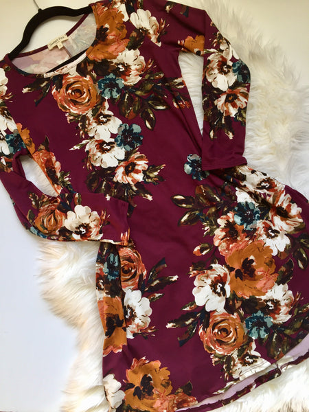 Burgundy, floral print, swing dress, flat lay - Charlotte Dress
