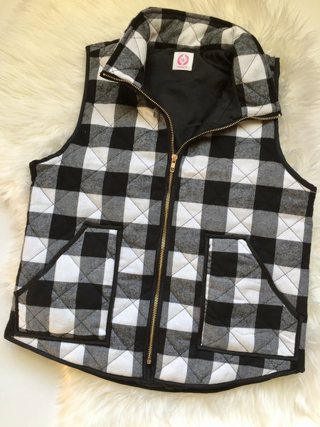 Black-white, buffalo print, cotton padded, flat lay - Colleen vest