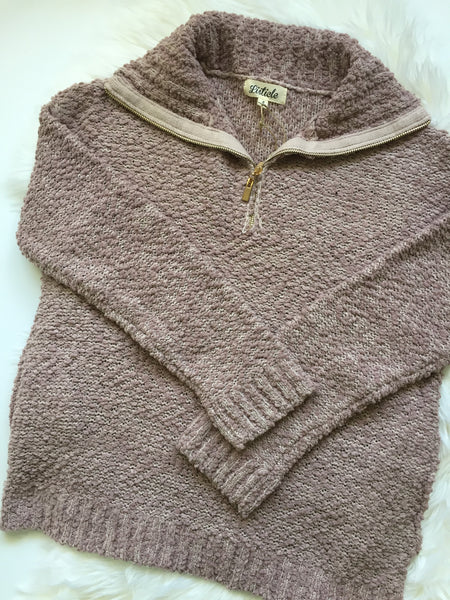 Mauve, knit crochet, popcorn thread, zipped neck, pockets, flat lay - Paige sweater
