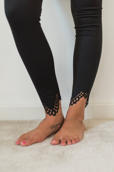 Black, solid color, casual, ankle cutout design detail - Kristen legging