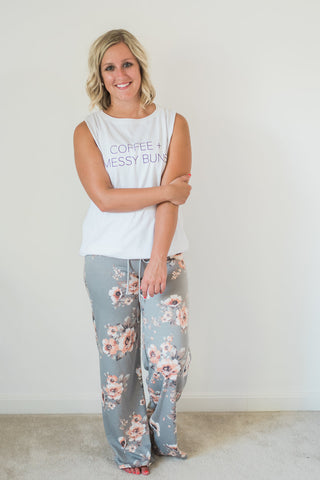Gray, wide leg, drawstring, comfy lounge pants - Jane pants