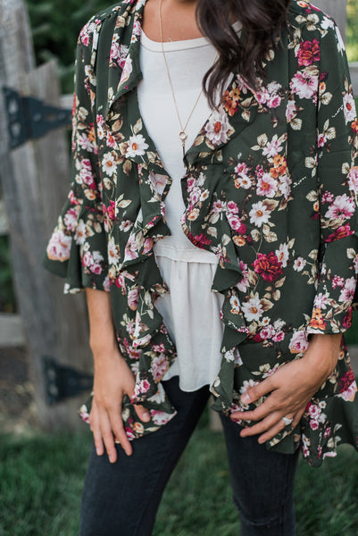 Olive floral, three-quarter bell sleeve, open front - Norah kimono