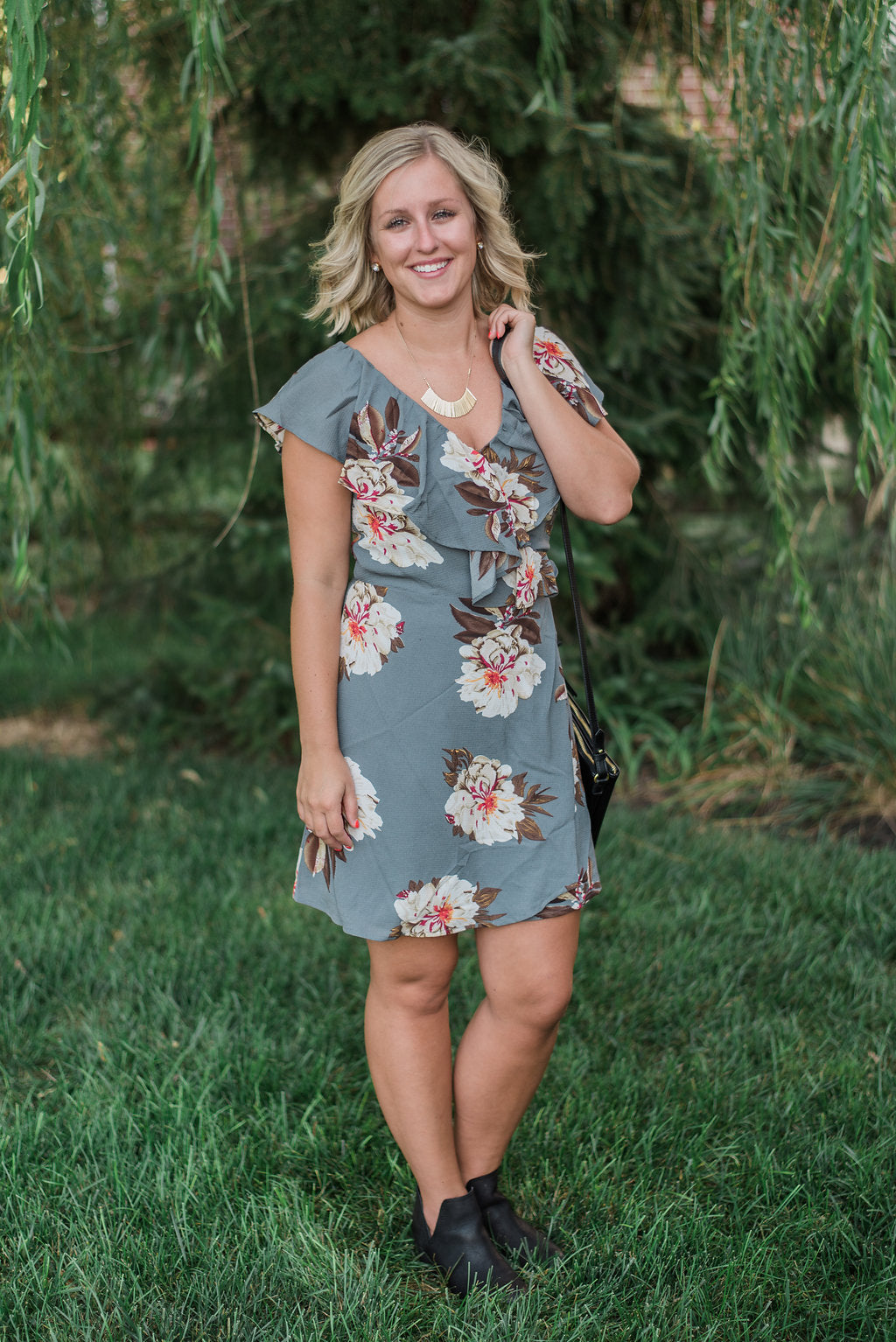Cool grey floral, ruffle, tie - Eva wrap dress