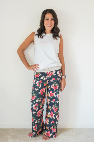 Navy, floral, wide leg, drawstring, lounge pants - Mia pants