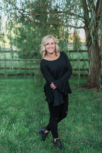 Black, long sleeves, cotton blend, ruffled hem - Brittany top