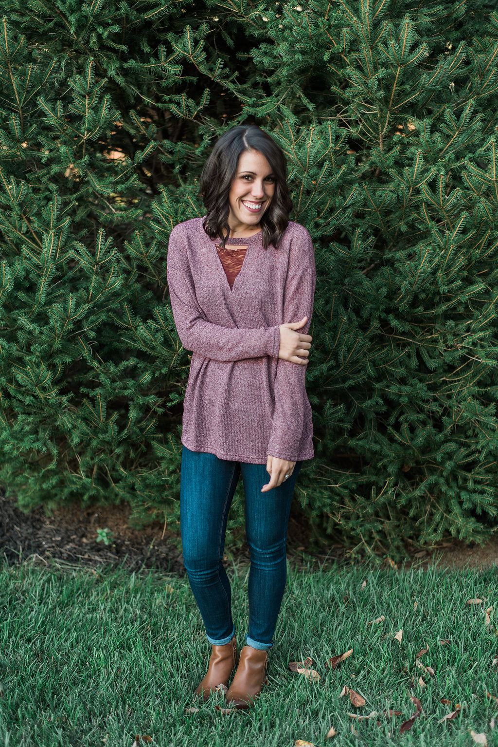 Cranberry, keyhole front neckline, lightweight sweater - Kinsley sweater