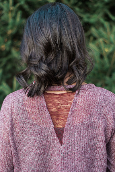 Cranberry, keyhole back neckline, lightweight sweater - Kinsley sweater