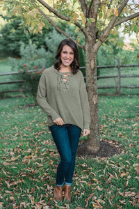 Olive, solid knit, lace-up front, medium-weight - Sydney sweater