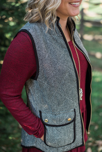 Black, herringbone, jacquard, quilted vest, side pockets - Leighton vest
