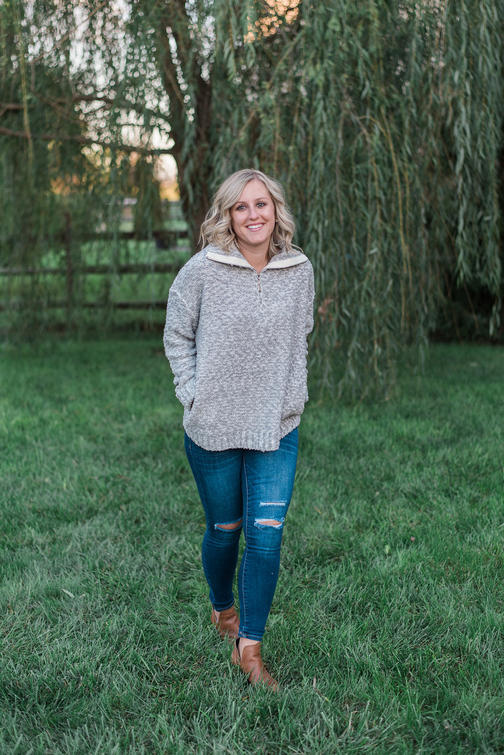 Gray, knit crochet, popcorn thread, zipped neck, pockets - Paige sweater