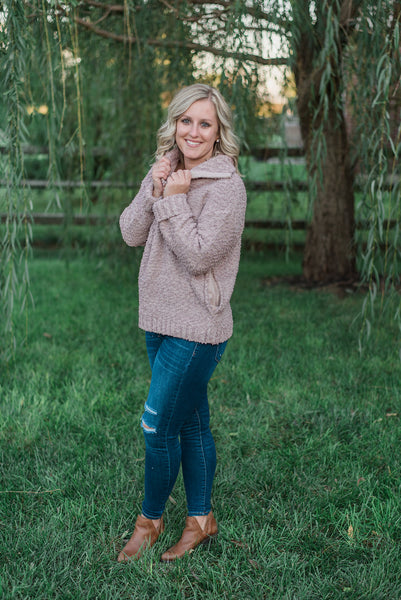 Mauve, knit crochet, popcorn thread, zipped neck, pockets - Paige sweater