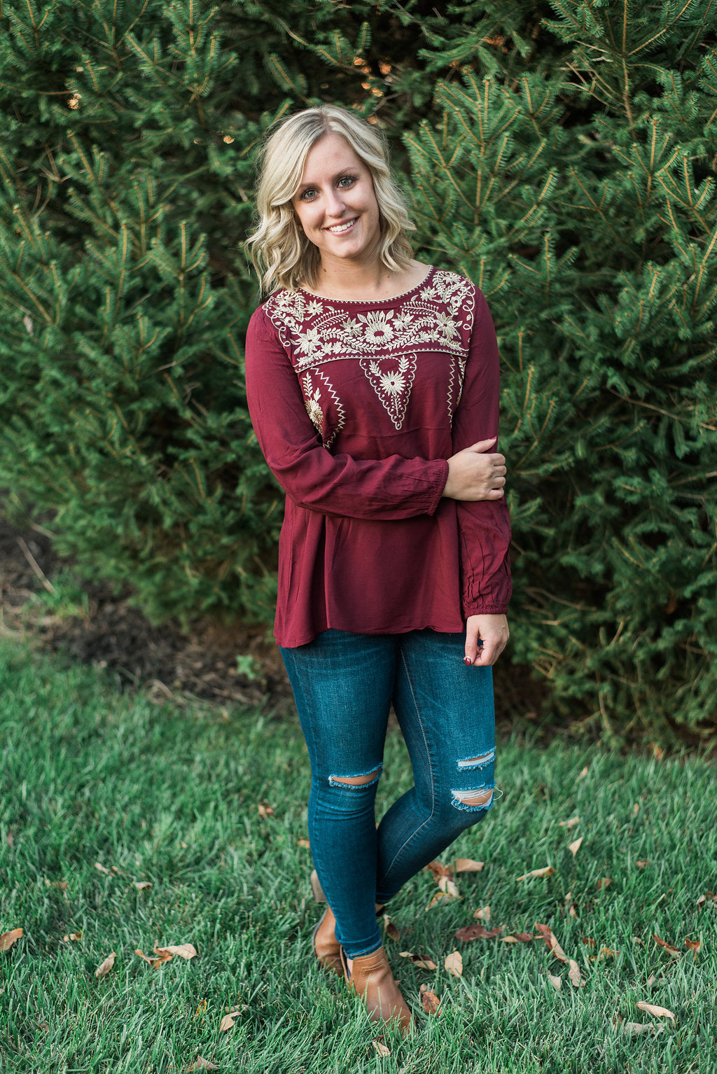 Burgundy, embroidered yoke, bubble sleeves - Willow top