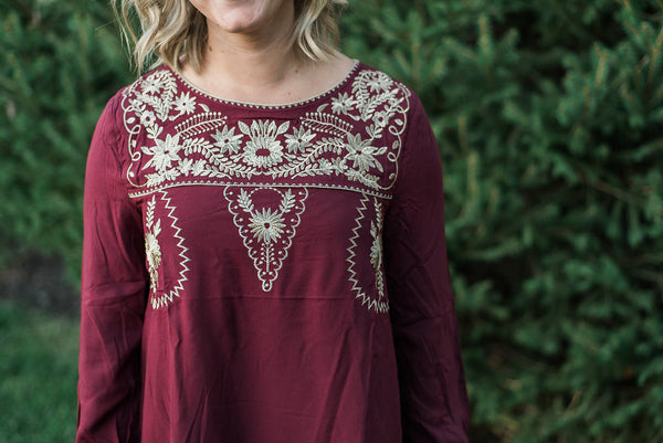 Burgundy, embroidered yoke detail, solid color - Willow top