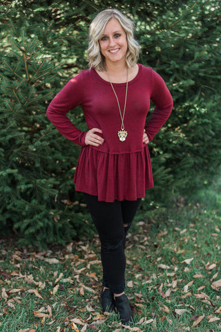 Burgundy, gathered hem, long sleeve, peplum top - Laura top