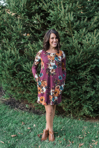 Burgundy, floral print, swing dress, pocket detail - Charlotte Dress