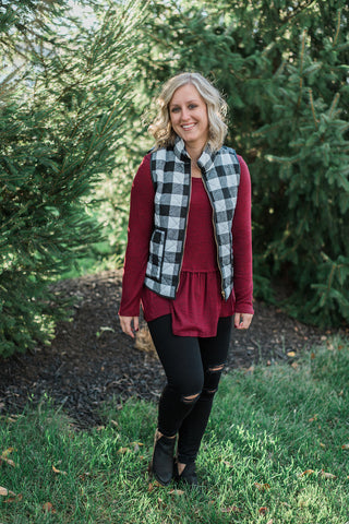 Black-white, buffalo print, cotton padded - Colleen vest