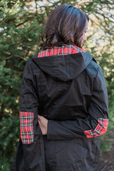 Black, plaid hood, plaid elbow patches, draw-string waist - Kendall jacket