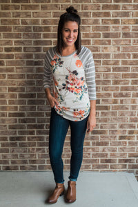 Ivory with gray, floral print, three-quarter sleeve, baseball tee - Erin top