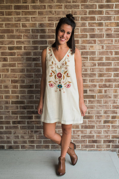 Ivory, sleeveless, v-neck, shift dress - Wren dress