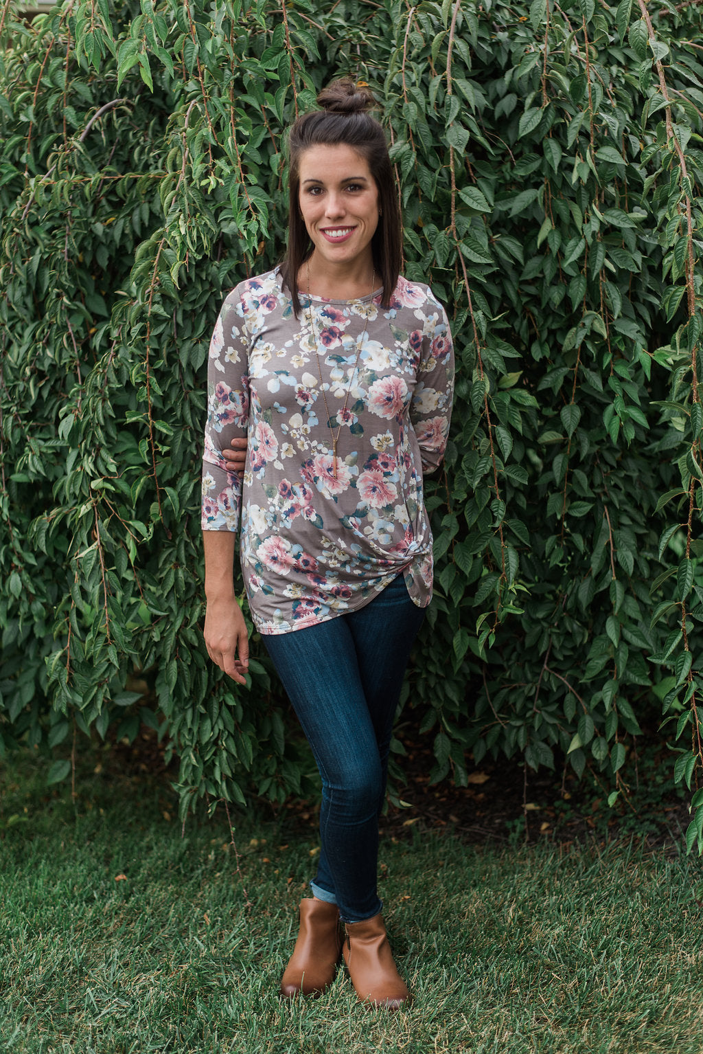Gray, three-quarter sleeve, tunic top - Mackenzie top