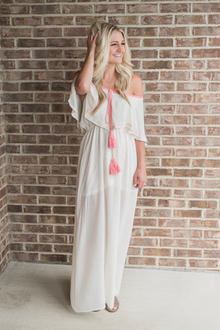 Off white, off-shoulder, boho tassel, maxi - Harper dress