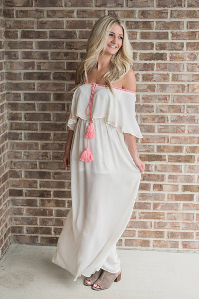 Off white, off-shoulder, front detail, maxi - Harper dress