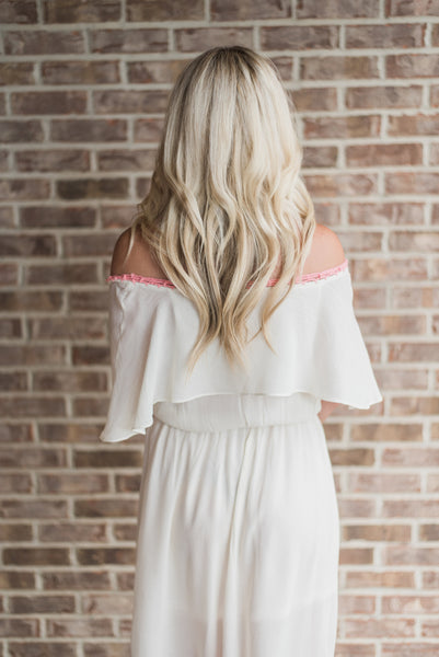 Off white, off-shoulder, back detail, maxi - Harper dress