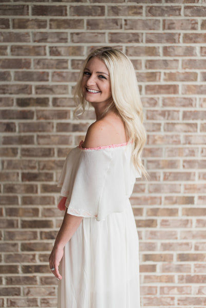 Off white, off-shoulder, side detail, maxi - Harper dress
